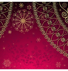 Christmas gold and purple frame vector image vector image