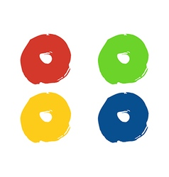 Colorful round paint stains set isolated vector image