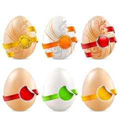 eggs with color ribbon vector image vector image
