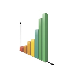 Glossy increasing graph isolated on white vector image vector image
