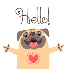 greeting card with cute dog sweet pug says hello vector image