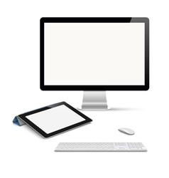 Realistic tablet computer monitor with keyboard vector