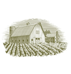 Woodcut Barn and House vector image vector image