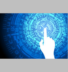 blue touch future technology internet security vector image vector image