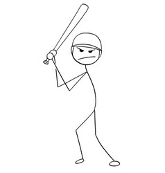 cartoon of male baseball player batter vector image