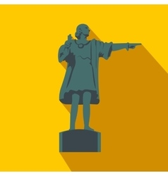 Cristobal Colon sculpture in Barcelona flat icon vector image