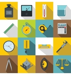 Measure precision icons set flat style vector image vector image