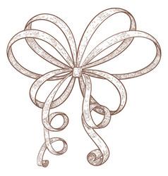 ribbon bow hand drawn grunge sketch vector image vector image