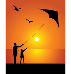 The girl and kite vector image vector image