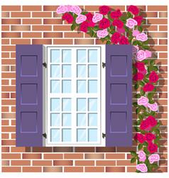 window on brick wall background vector image
