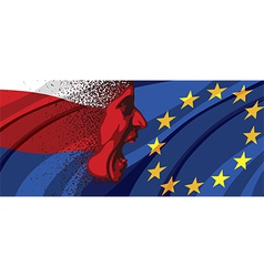 Angry face of Russia to Europe vector image vector image