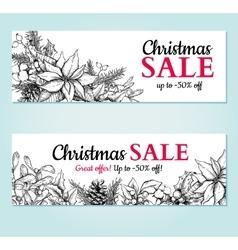 Christmas sale banner hand drawn vector image vector image