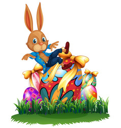 cute bunny and easter eggs in garden vector image vector image