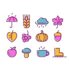 cute linear autumn icons set vector image