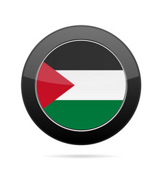 flag of palestine shiny black round button vector image