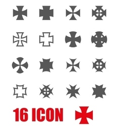 grey choppers crosses icon set vector image