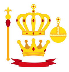heraldic symbols monarch set royal traditions vector image