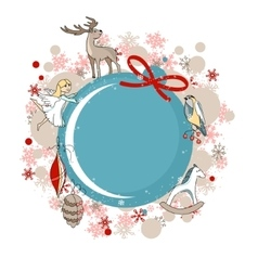 Round blue frame with Christmas decor vector image