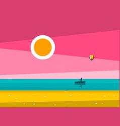 sunset ocean landscape sunrise sea with man on vector image