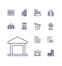 13 buildings icons vector