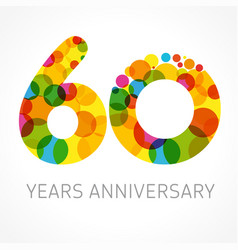 60 years anniversary circle colored logo vector