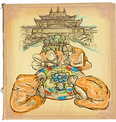 An hand drawn colored line art - Mandala vector image