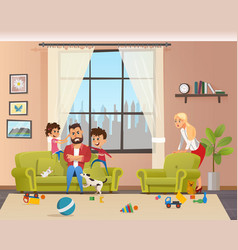 angry young father look after naughty children vector image