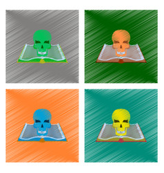 Assembly flat shading style icon book skull vector