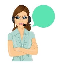 Attractive female customer support phone operator vector