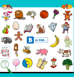 B is for educational game for children vector