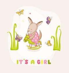 baby girl kangaroo on a horse - baby shower vector image
