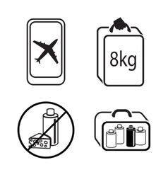 Baggage icon set Hand luggage for traveling vector image