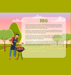bbq poster with chef and text vector image