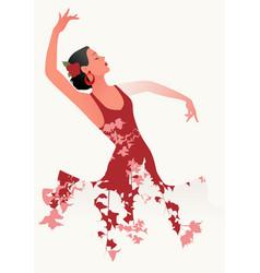 Beautiful spanish flamenco dancer wearing flowery vector