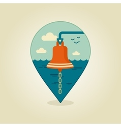 Bell marine pin map icon marine sea vector