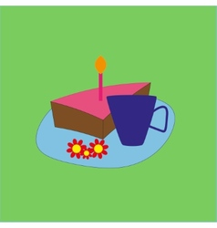 Birthday cake and tea vector image