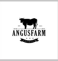 Black angus logo design template silhouette vector
