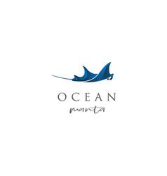 blue manta logo design vector image