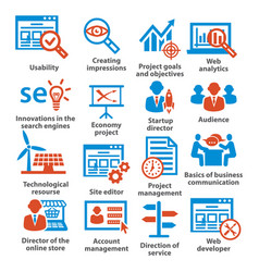 business management icons pack 07 vector image
