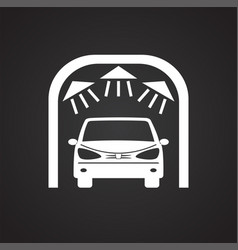 Car wash on black background for graphic and web vector