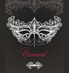 carnival mask on black background vector image vector image