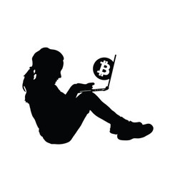 child silhouette with cryptocurrency vector image