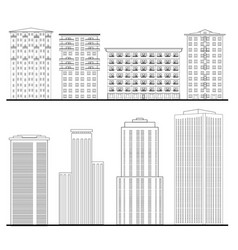 City buildings set outline blueprint skyscraper vector