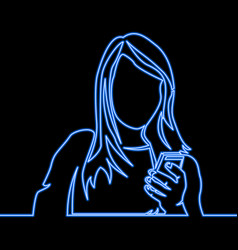 Continuous line woman reading mobile phone neon vector