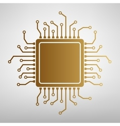 CPU Microprocessor Flat style icon vector