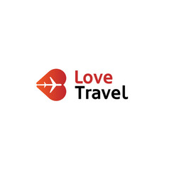 creative heart aircraft logo vector image