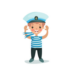 cute happy little boy in sailors costume kid vector image