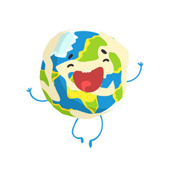 Cute smiling cartoon earth planet character vector