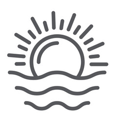 Dawn line icon weather and sun sunrise sign vector