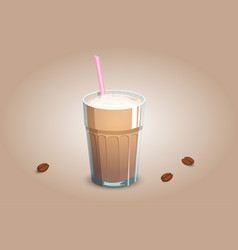 Delicious coffee drink in a transparent cup with vector